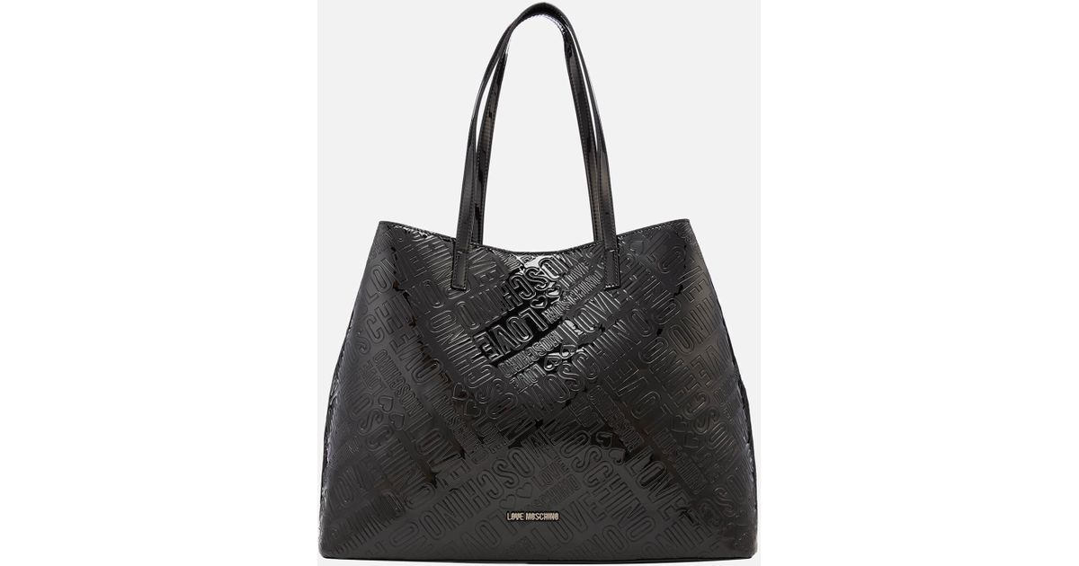 Love Moschino Metallic Embossed Logo Tote Bag in Black - Lyst 94c2b47a72d55