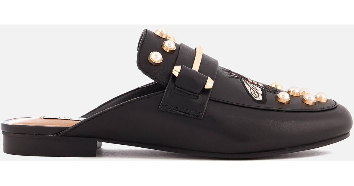 d24fb8330a3 Lyst - Steve Madden Kera-b Leather Slide Loafers in Black