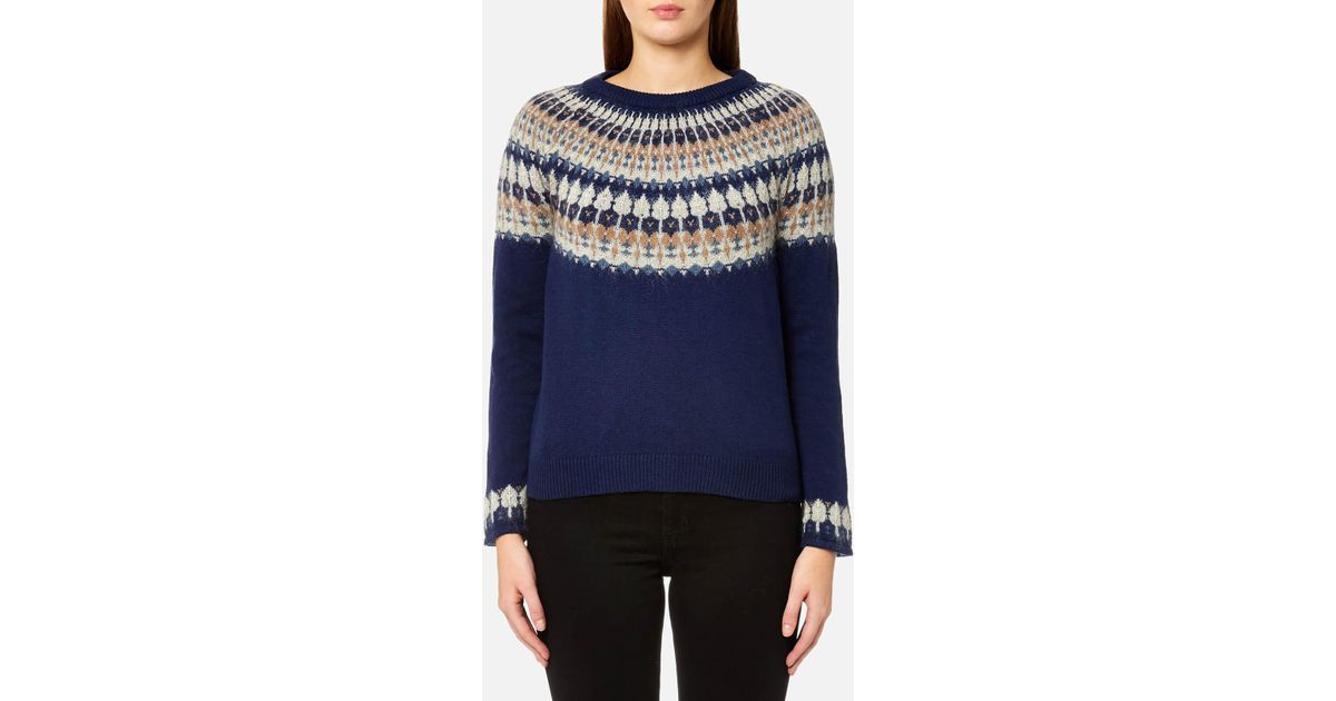 Gant Cotton Wool Fairisle Crew Neck Jumper in Blue | Lyst