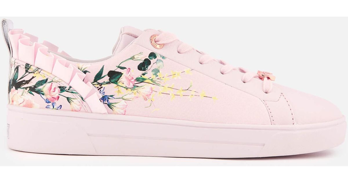 1d94fe739ddea Lyst - Ted Baker Astrna 2 Leather Fill Low Top Trainers in Pink ...