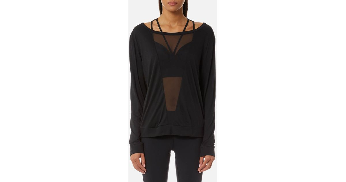 Lyst reebok mesh long sleeve t shirt in black for Mesh long sleeve t shirt