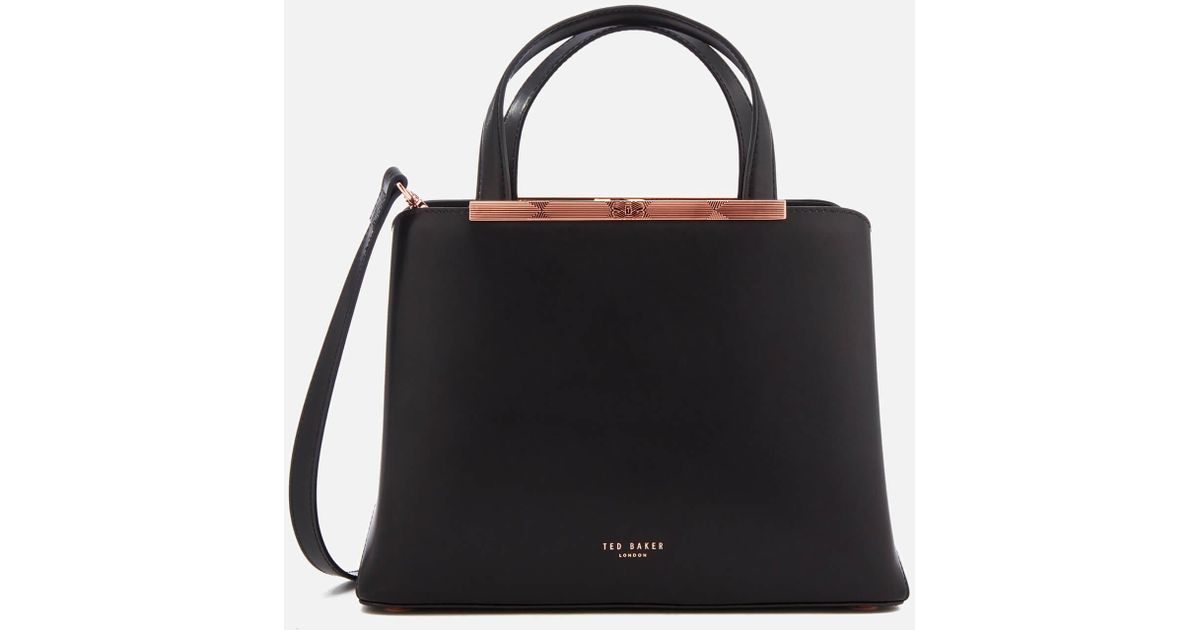 9c9d0ee2a4c1 Lyst - Ted Baker Naomii Smooth Leather Tote Bag in Black