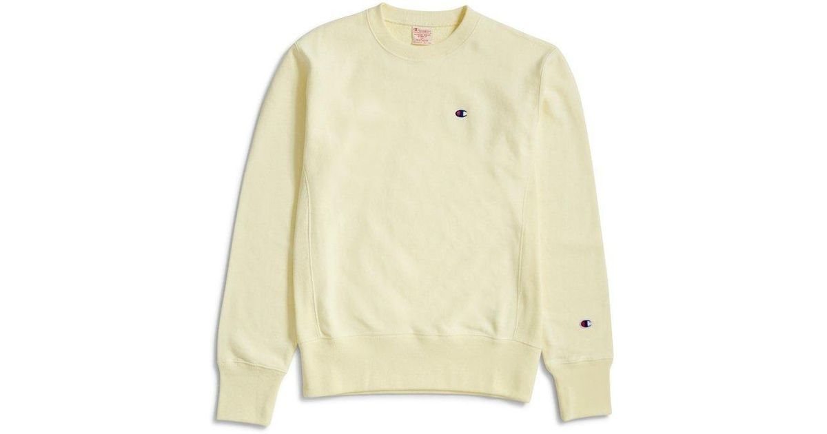 31e05214 Champion Reverse Weave Crewneck Sweatshirt Lemon in Yellow for Men - Lyst