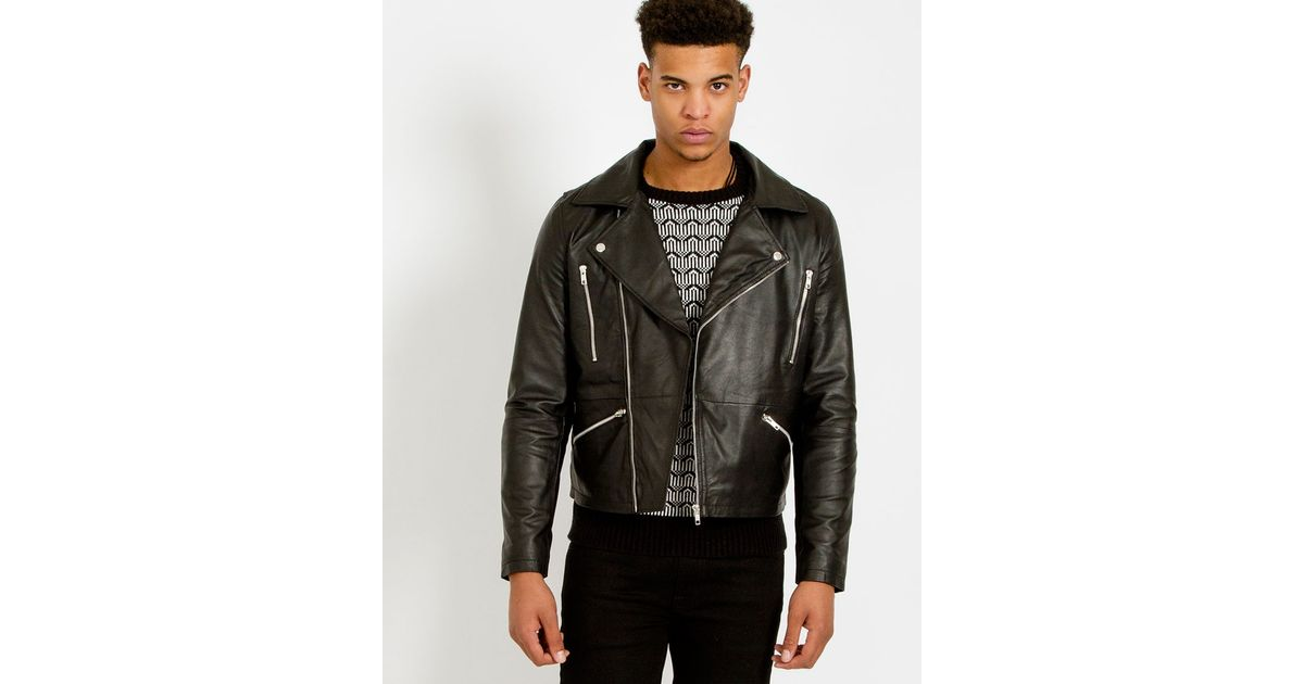 The idle man Leather Biker Jacket in Multicolor for Men ...