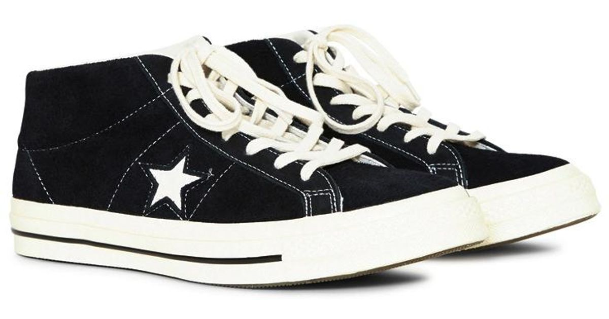 f67d6fd0b454 Lyst - Converse One Star  74 Vintage Suede Mid Black in Black for Men