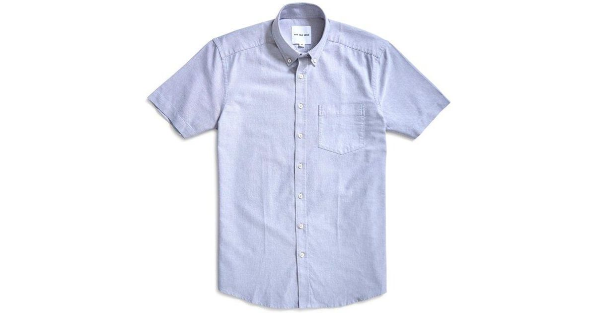 548fa927c9fb The Idle Man Relaxed Modern Fit Oxford Short Sleeve Shirt Grey in Gray for  Men - Lyst