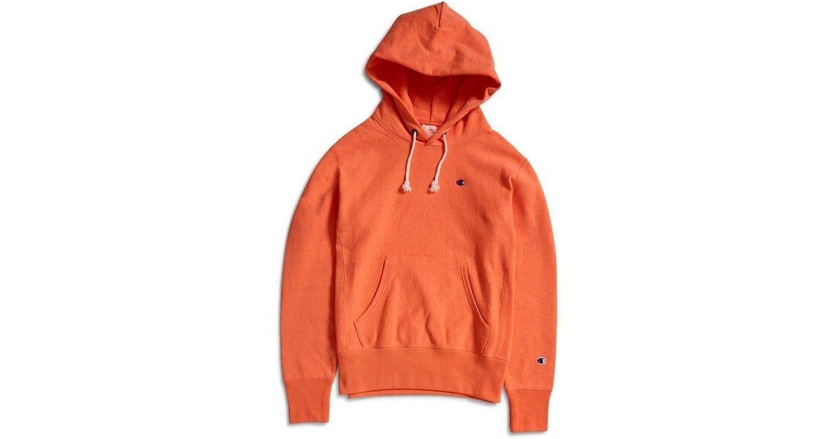 ca27cef804f9 Champion Reverse Weave Hooded Sweatshirt Coral in Orange for Men - Lyst