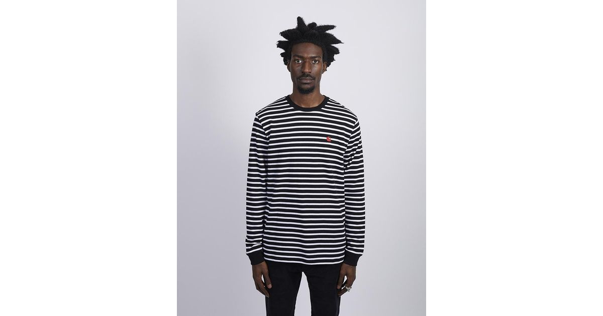 fe7f235456 Carhartt WIP Long Sleeve Robie Striped T-shirt Black & White in Black for  Men - Lyst