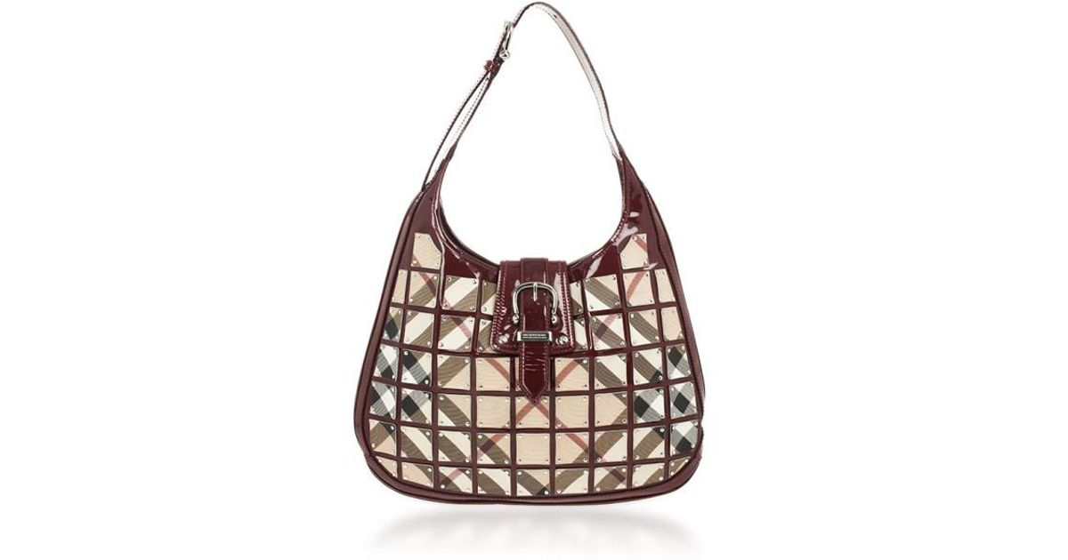 2a54e1107d03 Lyst - Burberry Warrior Nova Check  brooke  Hobo in Red