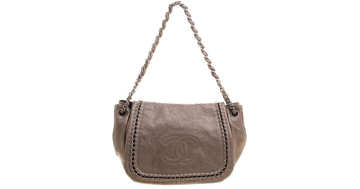 0454edb8ef1c Chanel Metallic Bronze Leather Luxe Ligne Accordion Flap Bag in Metallic -  Lyst