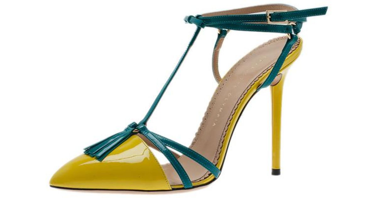 369303e923a3 Charlotte Olympia Neon Patent Trixie T-strap Sandals in Blue - Lyst