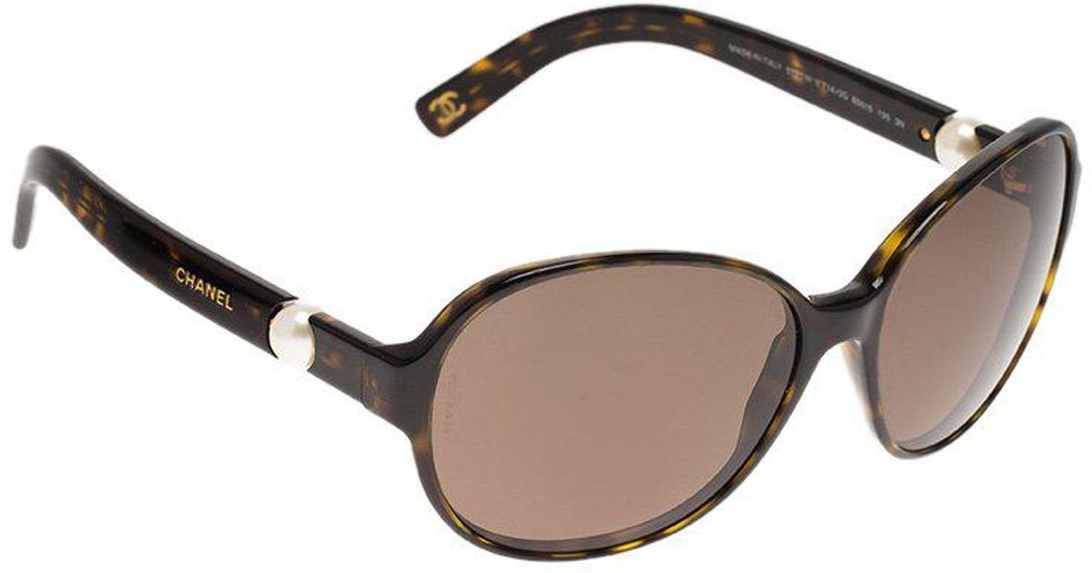 f9d99a83f4e Chanel Tortoise 5131-h Perle Collection Round Sunglasses in Brown - Lyst