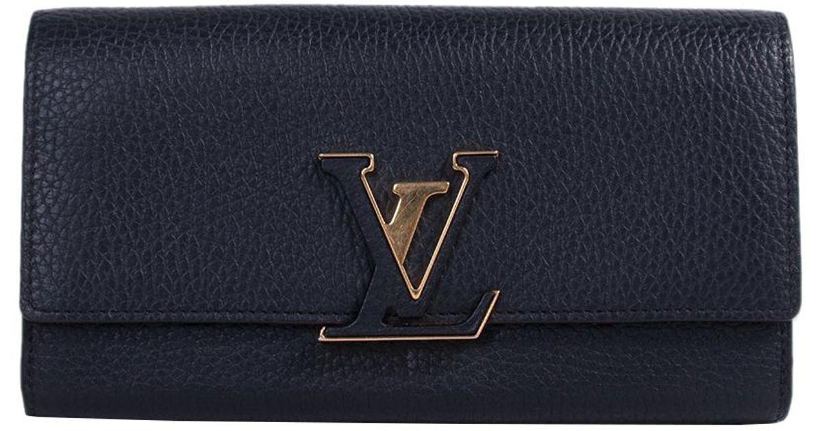 52f8e8f38b2d Lyst - Louis Vuitton Noir Taurillon Leather Capucines Wallet in Black