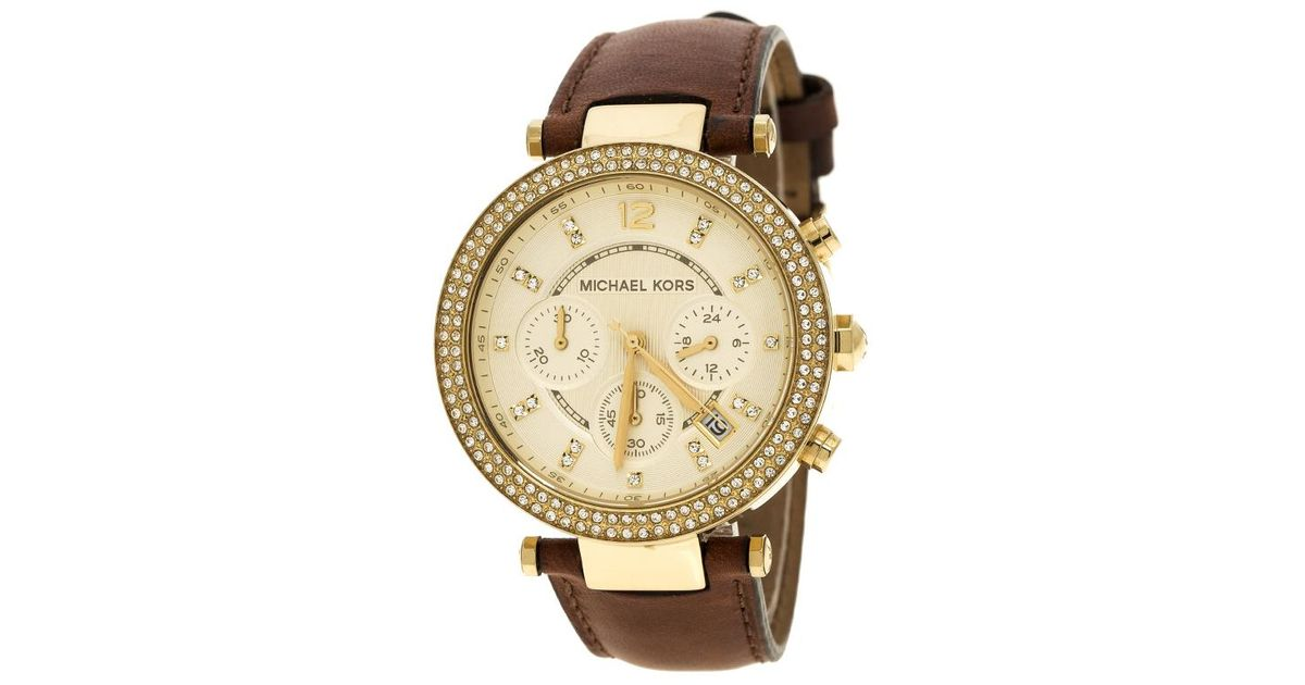 32ae7140feb5 Lyst - Michael Kors Gold Tone Parker Chronograph Mk2249 Women s Wristwatch  39 Mm in Brown