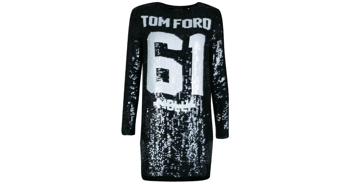 e85e8205 Tom Ford Sequin Embellished Molly Football Jersey Shift Dress S in Black -  Lyst