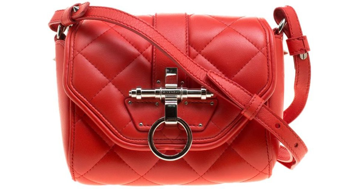 576318720d Givenchy Quilted Leather Small Obsedia Crossbody Bag in Red - Lyst