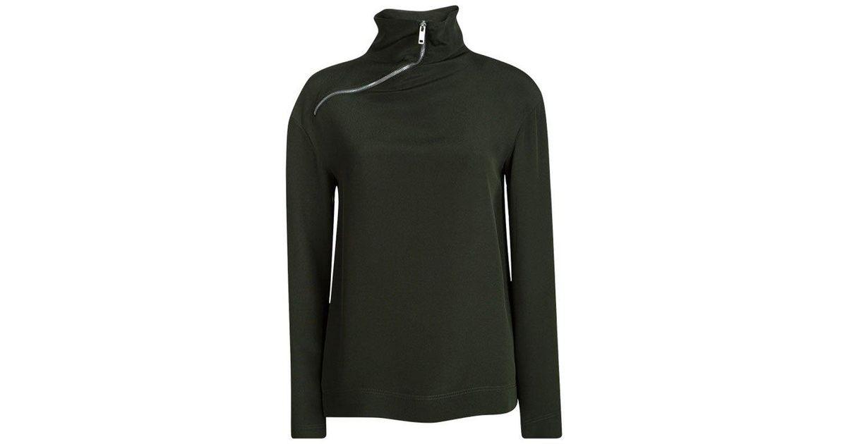 57a38a7131737c Lyst - Céline Bottle Silk Zip Detail High Neck Long Sleeve Blouse S in Green