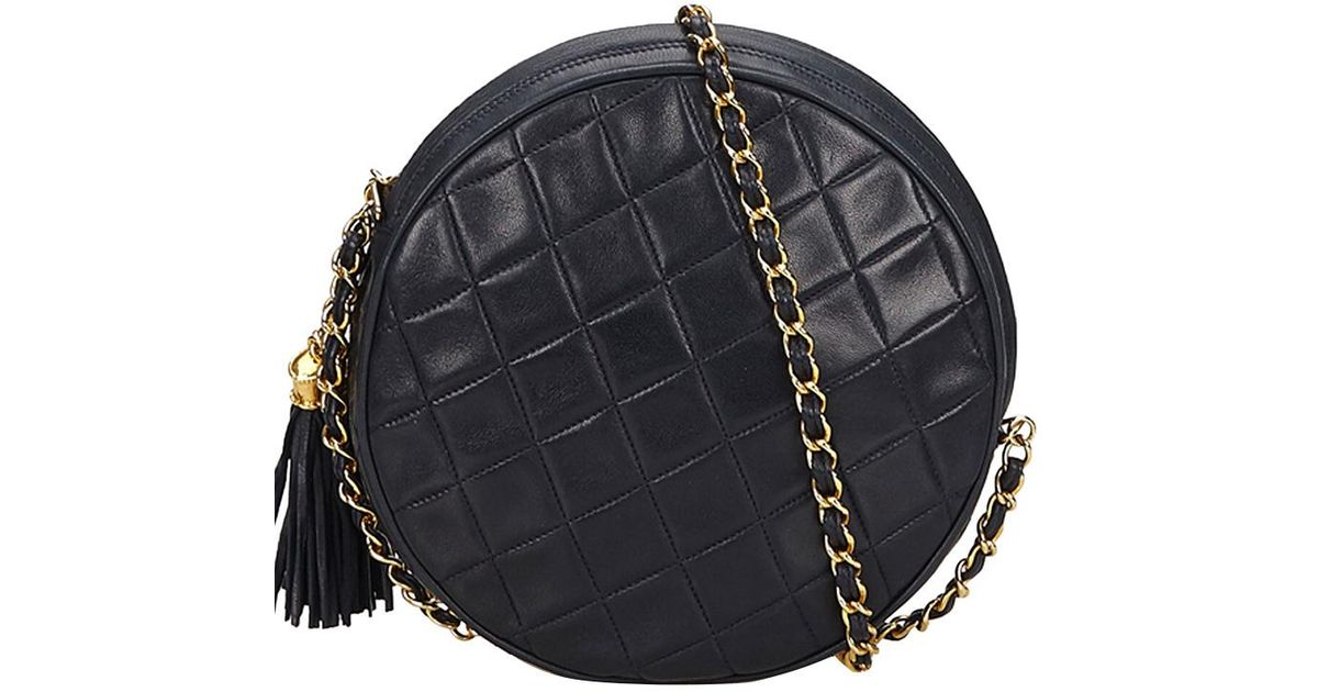 80452fdb6dd5 Lyst - Chanel Navy Blue Quilted Leather Round Tassel Shoulder Bag in Black