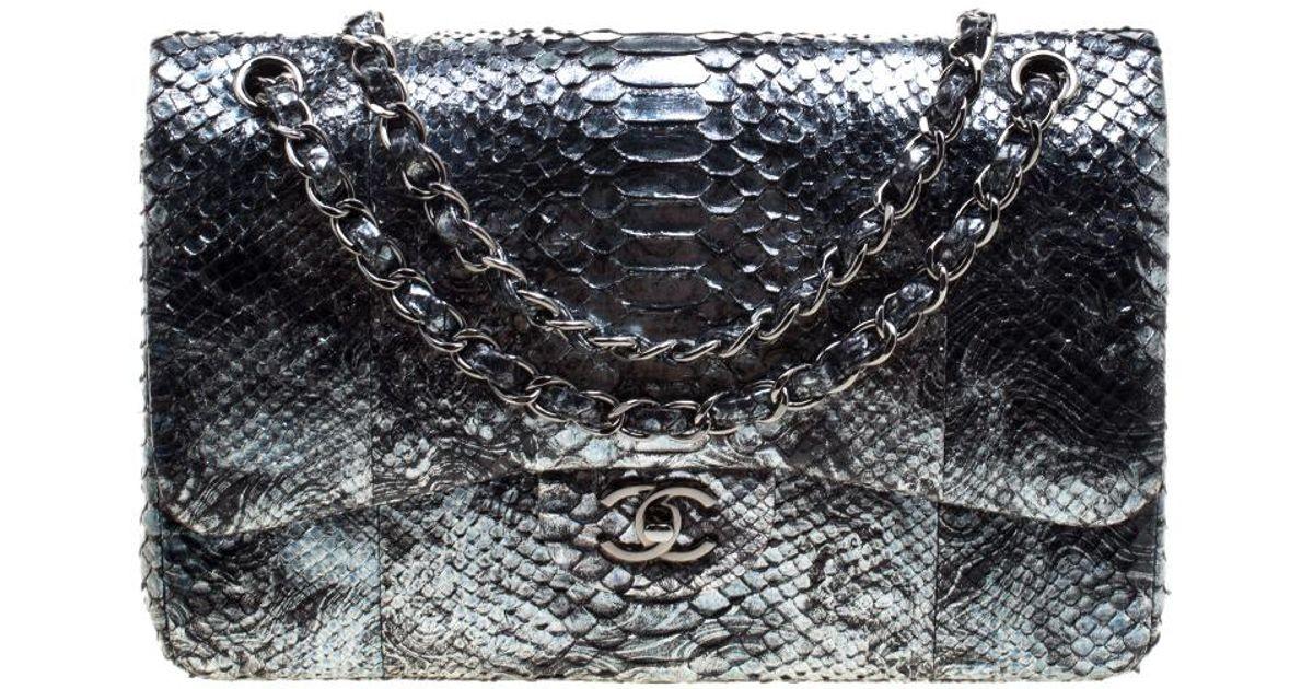 Lyst - Chanel Aquamarine Black Python Jumbo Classic Double Flap Bag in  Metallic 7ef9f46088054