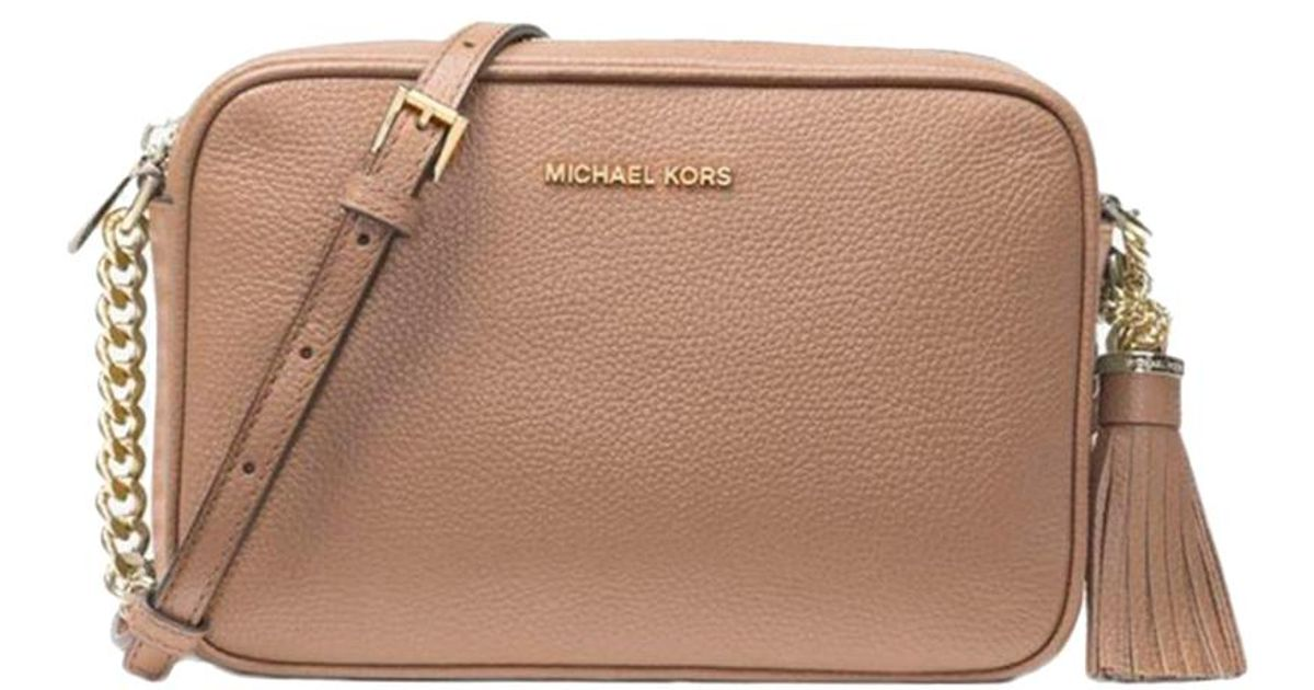 405819cd0368cd Michael Kors Truffle Pebbled Leather Medium Ginny Crossbody Bag in Brown -  Lyst