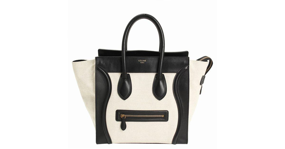 1569dfd2ff Céline Bicolor Leather Mini Luggage Tote Bag in Black - Lyst