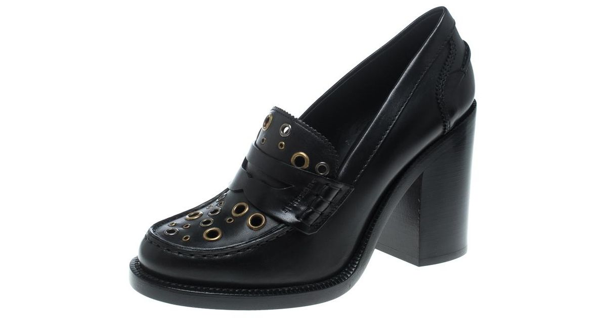 dbd9ec17059 Lyst - Burberry Leather Bedmont Eyelet Detail Penny Loafer Pumps in Black