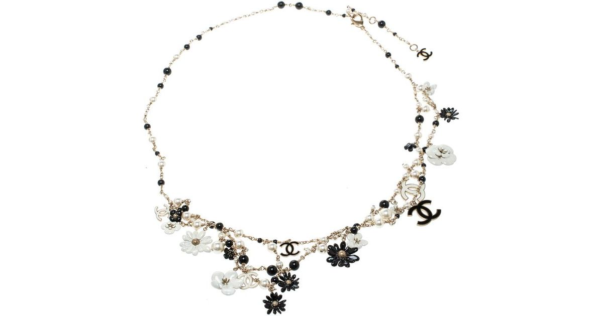 9947361f73fc Chanel Cc Enamel Faux Pearl & Bead Charm Gold Tone Belt / Necklace in White  - Lyst