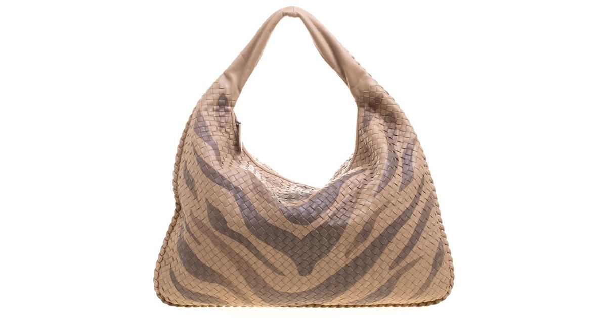 2059009f0e7d Bottega Veneta Tiger Print Intrecciato Leather Python Trim Hobo in Natural  - Lyst