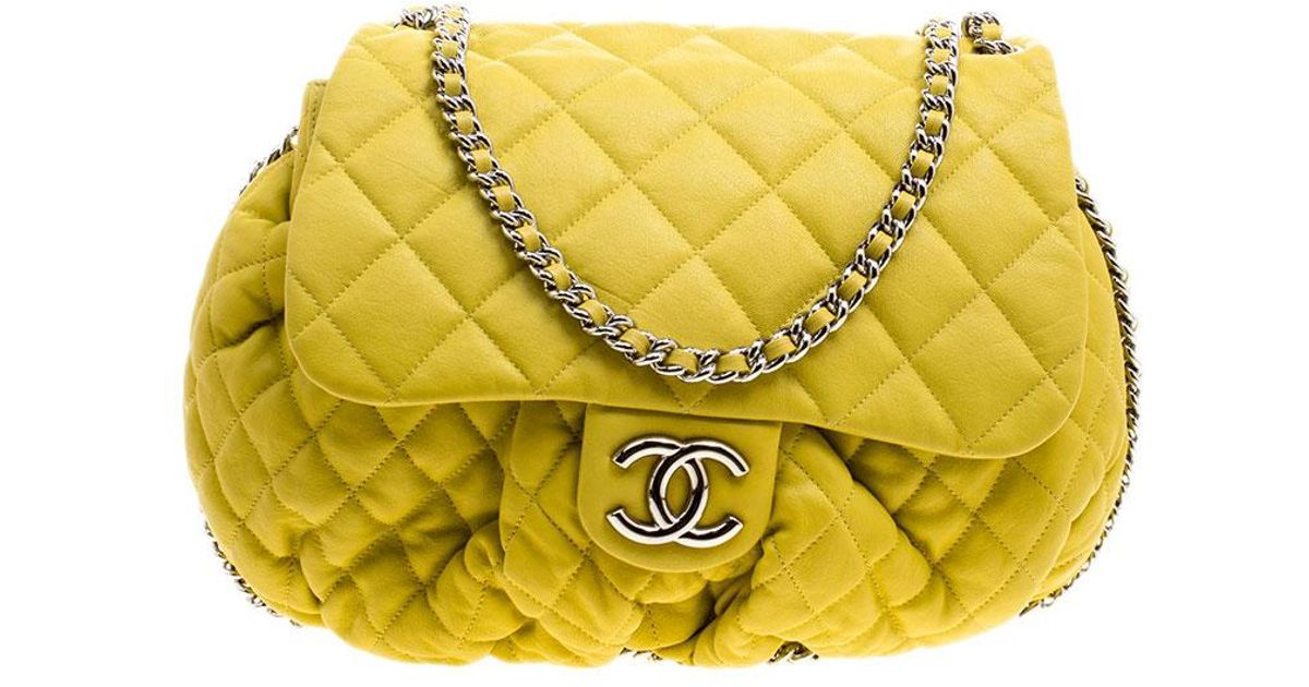 5eda2b948ef9 Chanel Yellow Quilted Leather Chain Around Shoulder Bag in Yellow - Lyst