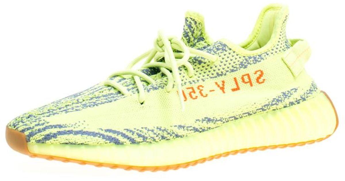 d7140b32453 Lyst - Yeezy X Adidas Semi Frozen Yellow Cotton Knit Boost 350 V2 Zebra  Sneakers in Green for Men