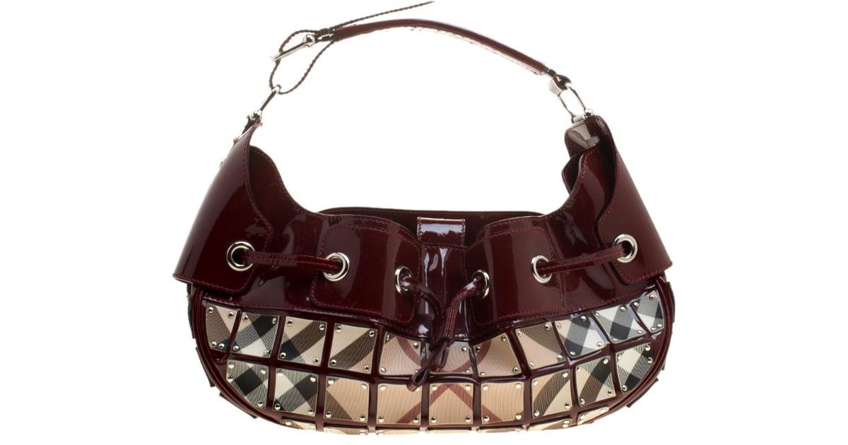 Lyst - Burberry Maroon beige Patent Leather And Super Nova Check Mini Warrior  Studded Hobo in Red 358ed89f1a253