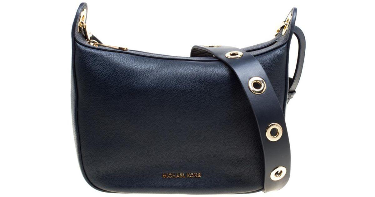 0faf0f609bcb MICHAEL Michael Kors Leather Medium Raven Messenger Bag in Blue - Lyst