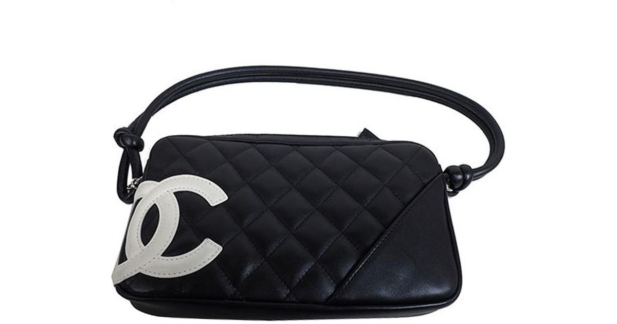 2976035346e3 Lyst - Chanel Quilted Leather Ligne Cambon Pochette Clutch Bag in Black