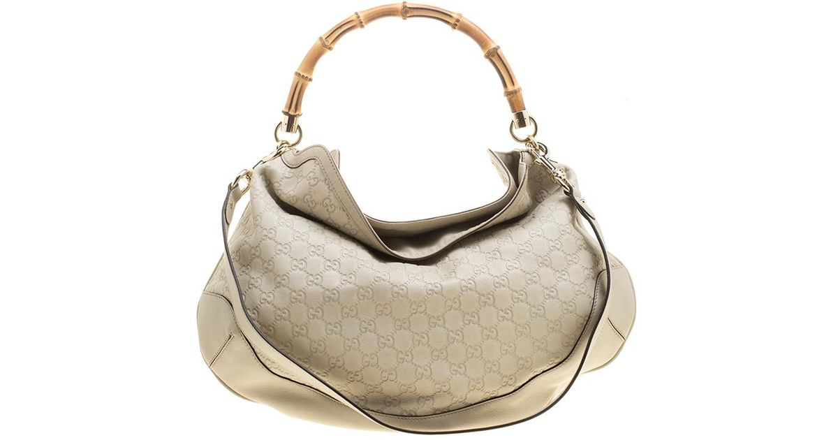 f25c7c1e12 Gucci Off Ssima Leather Peggy Bamboo Top Handle Bag in White - Lyst