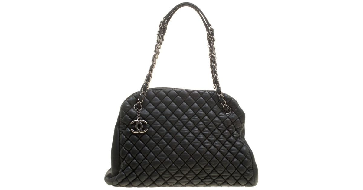 2268dca18c1f Chanel Quilted Leather Large New Bubble Just Mademoiselle Bowling Bag in  Black - Lyst