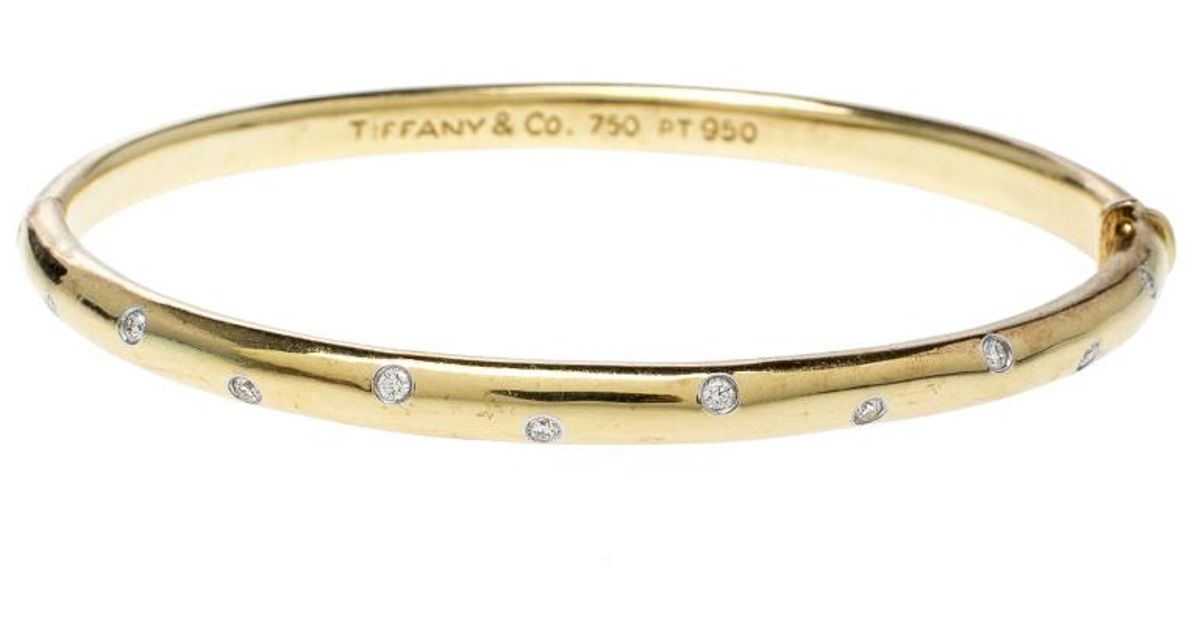 260399a6e Tiffany & Co. Etoile Diamond Platinum 18k Yellow Gold Bangle Bracelet in  Metallic - Lyst