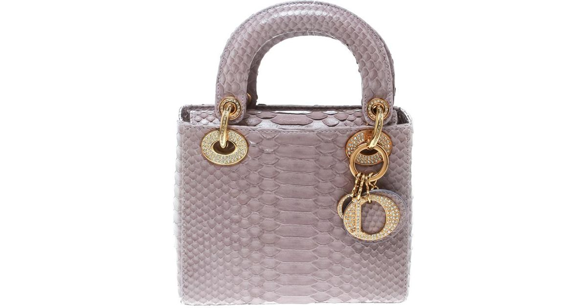 b1ce64baf5e Dior Lilac Python Mini Crystal Studded Lady Tote in Purple - Lyst