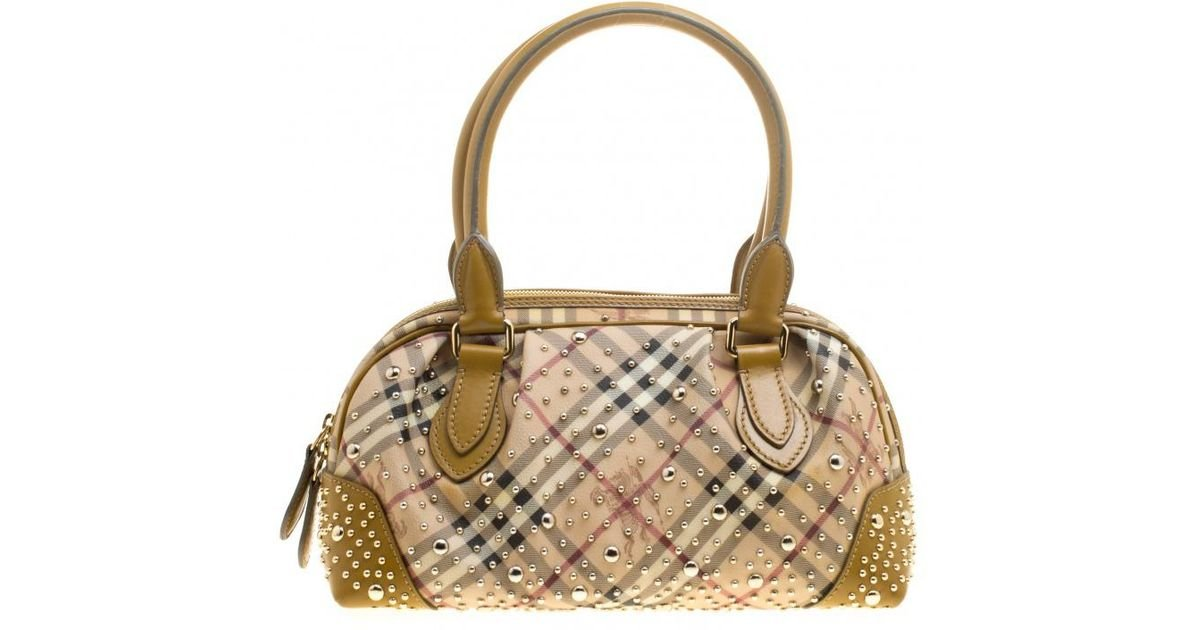 Burberry Haymarket Check Pvc And Leather Studded Satchel in Natural - Lyst 1f7df2306a06a