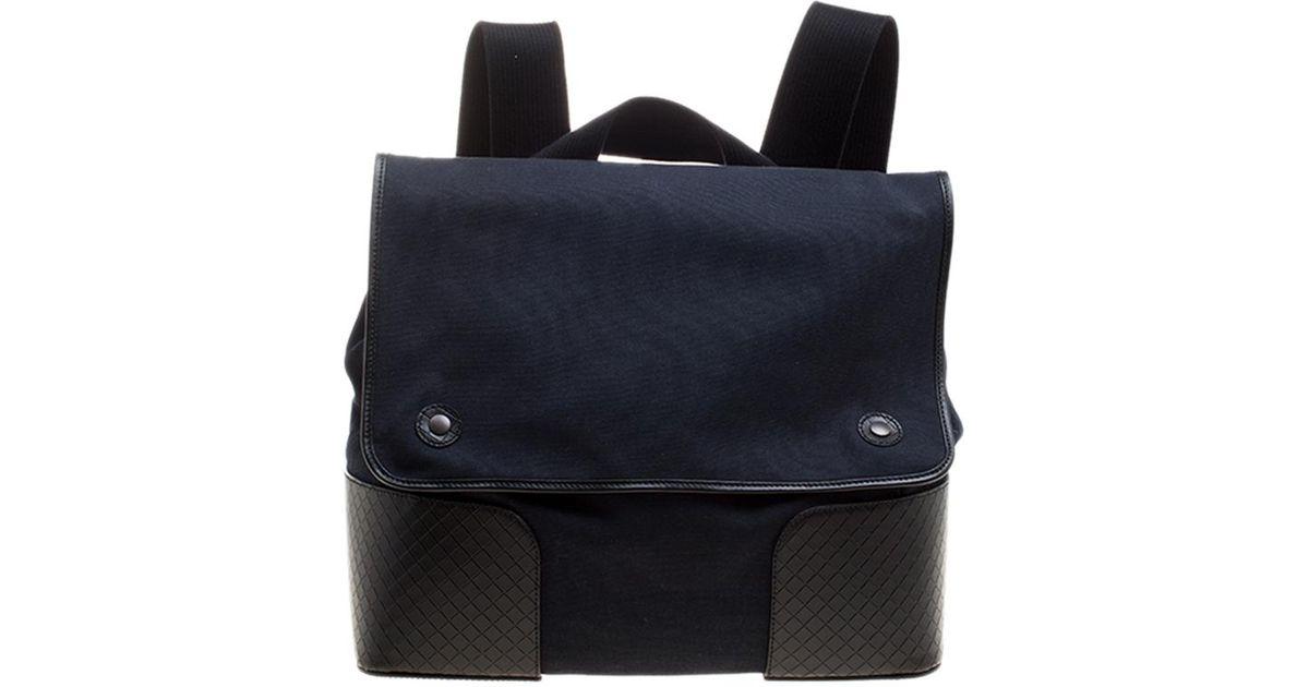 08a4f32910d3 Lyst - Bottega Veneta  black Canvas And Intrecciato Leather Backpack in  Blue for Men