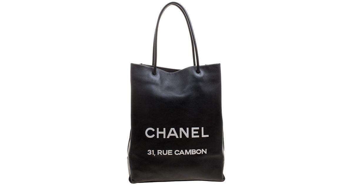 a11c6218c519 Chanel Leather Medium Essential Rue Cambon Shopping Bag in Black - Lyst
