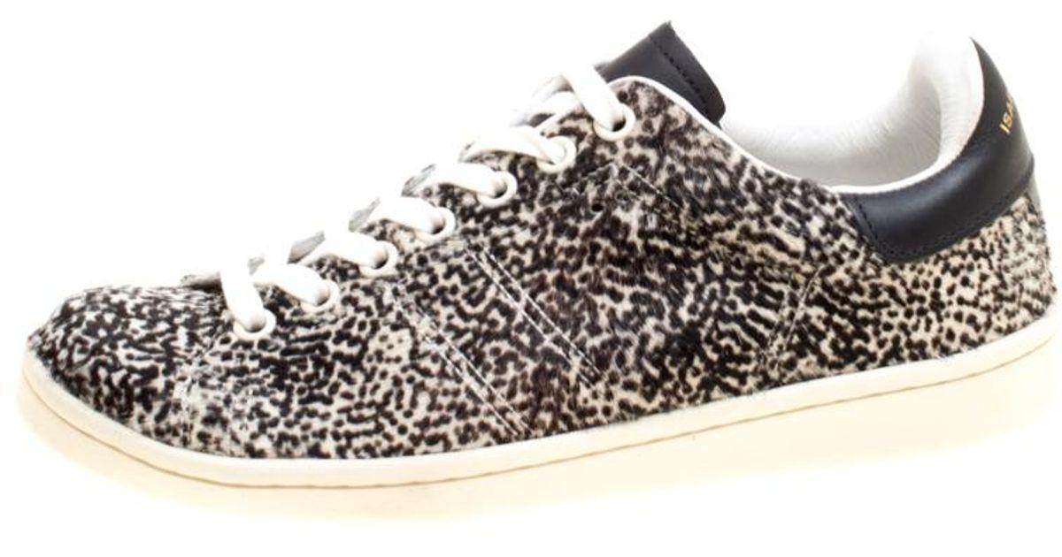 534305b670f2 Lyst - Isabel Marant Monochrome Printed Calf Hair Bart Low Top Sneakers in  Black