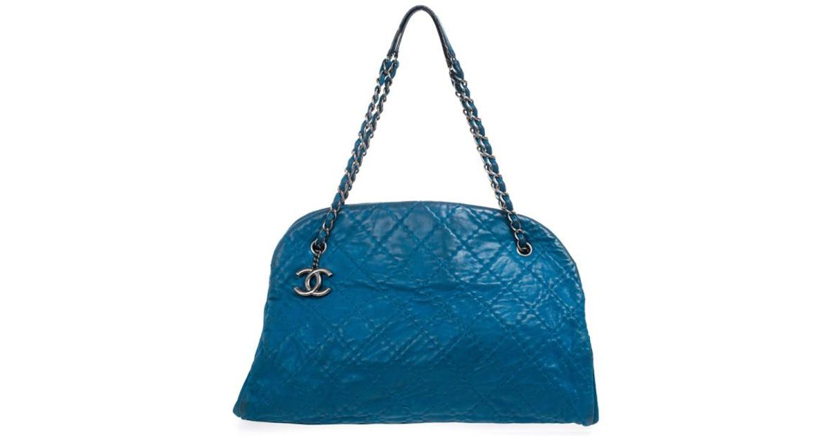7f9d29b475d9 Chanel Leather Quilted Distressed Iridescent Calfskin Large Just  Mademoiselle Tote in Blue - Lyst