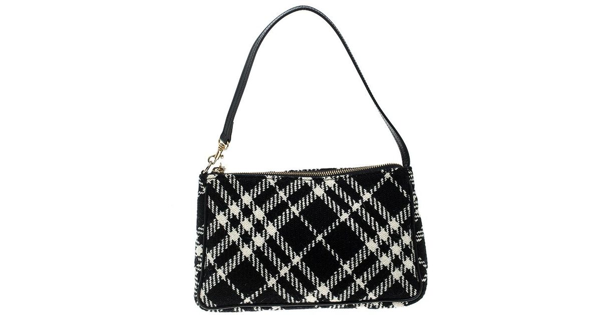 Lyst - Burberry  white Check Wool Pochette in Black 120d759b90433