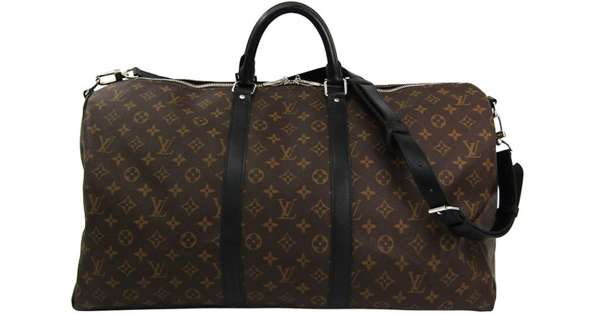 822c87d03ae5 Lyst - Louis Vuitton Monogram Macassar Canvas Keepall Bandouliere 55 Bag in  Brown for Men