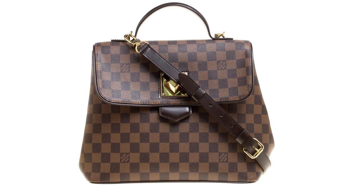 7abd712583b Louis Vuitton Damier Ebene Canvas Bergamo Gm Bag in Brown - Lyst