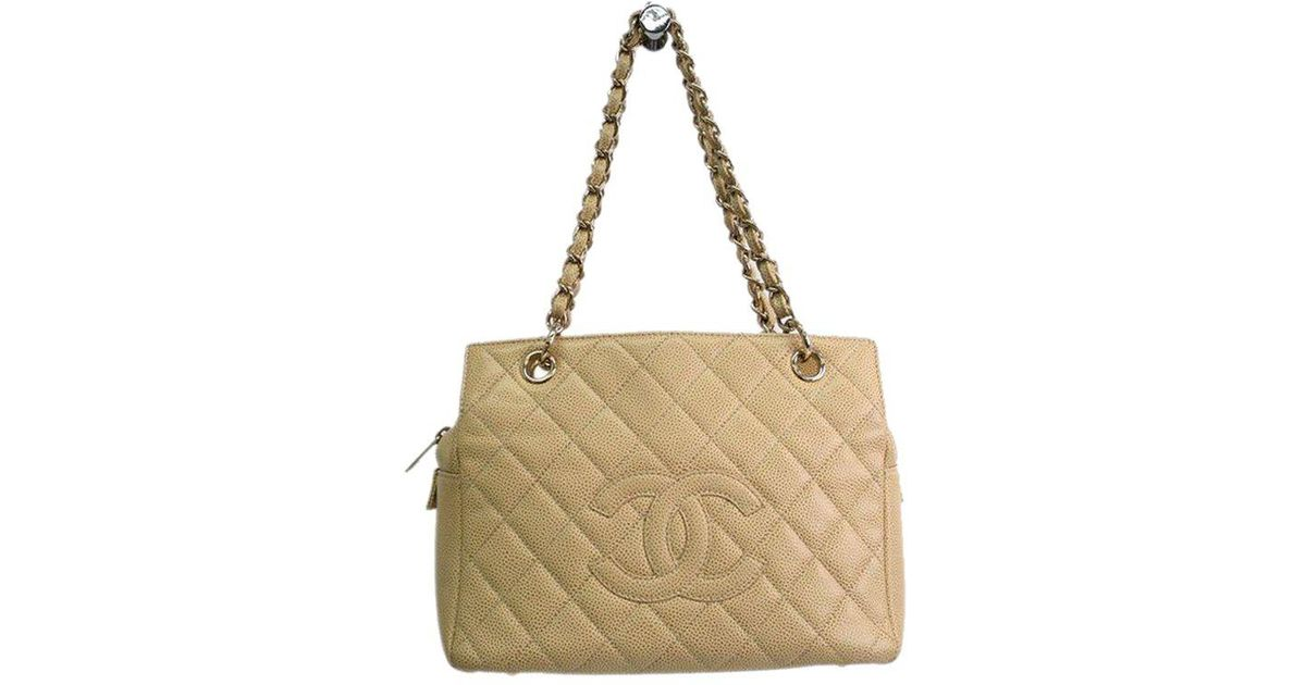 b0b15dfb1873 Chanel Quilted Caviar Leather Petite Timeless Tote in Natural - Lyst