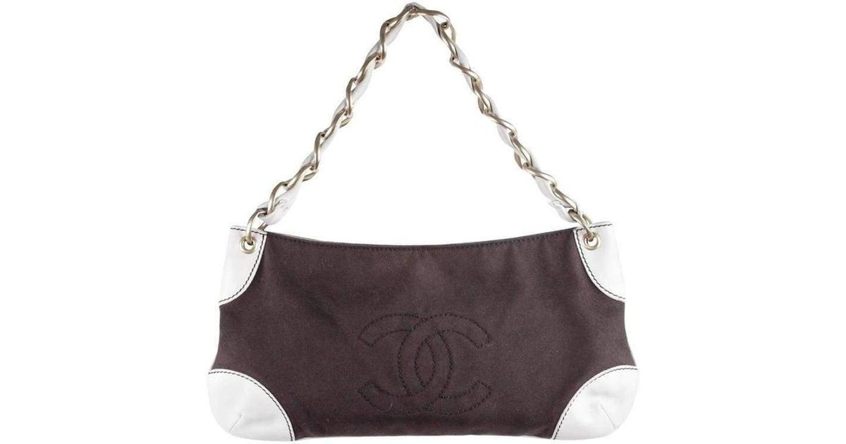 d5161b2cc171 Lyst - Chanel Two Tone Canvas/leather Shoulder Bag