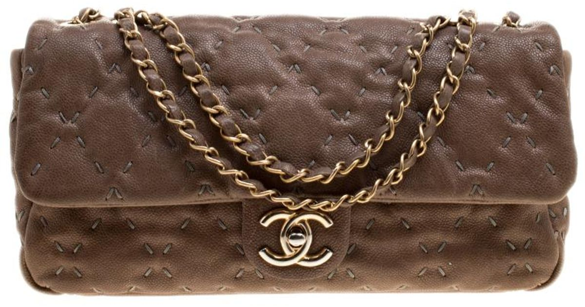 30cda80e0636 Chanel Taupe Quilted Wild Stitch Caviar Leather Classic Flap Shoulder Bag  in Natural - Lyst