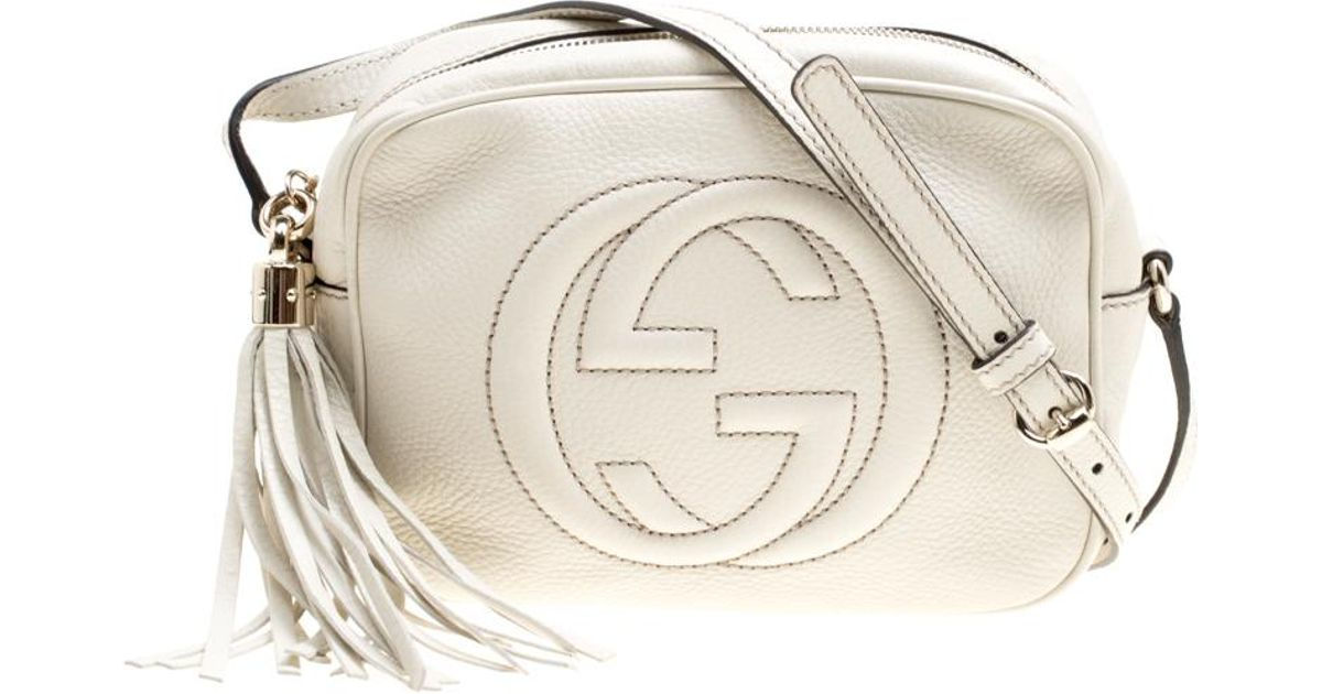 be8ca35b3 Lyst - Gucci Off Leather Small Soho Disco Shoulder Bag in White