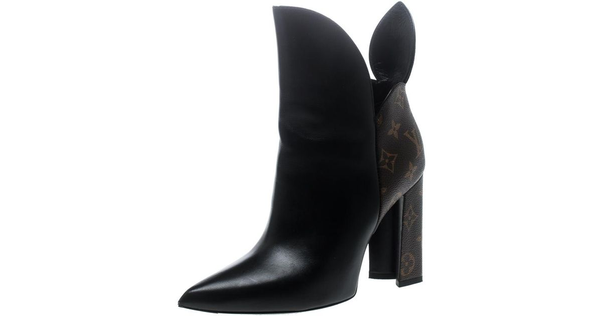 cb609187c65c Lyst - Louis Vuitton Leather With Monogram Canvas Rodeo Queen Pointed Toe  Ankle Boots in Black